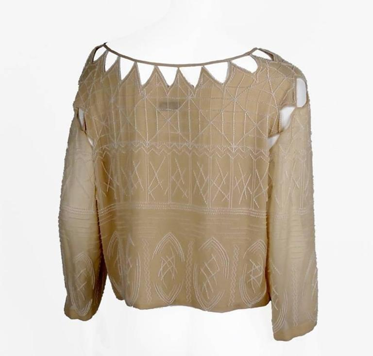 Chanel 99A Lesage White Beaded Beige Silk Blouse with Triangular Cut-outs FR44 5