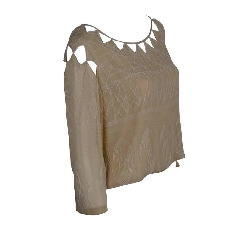 Chanel 99A Lesage White Beaded Beige Silk Blouse with Triangular Cut-outs FR44 1