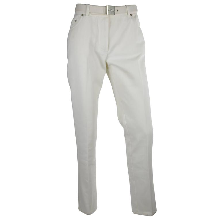 Chanel 1995P White Twill Cotton Jeans with Silver Belt Buckle & CC Pocket FR38 1