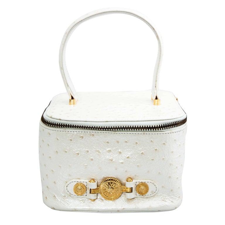 64692de1 Versace White Faux Ostrich Vanity Case Bag