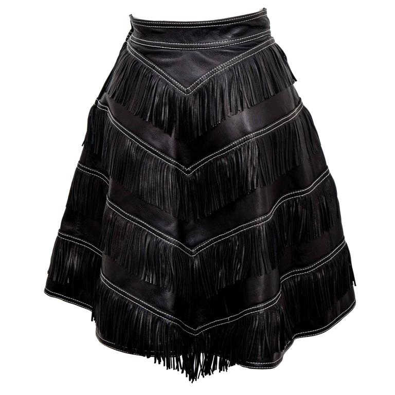 Gianni Versace Iconic 1992 Runway Black Leather Fringe Skirt