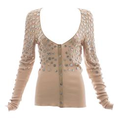 Alexander McQueen Cotton Suede Cardigan Mother Of Pearl Buttons, Spring 2002
