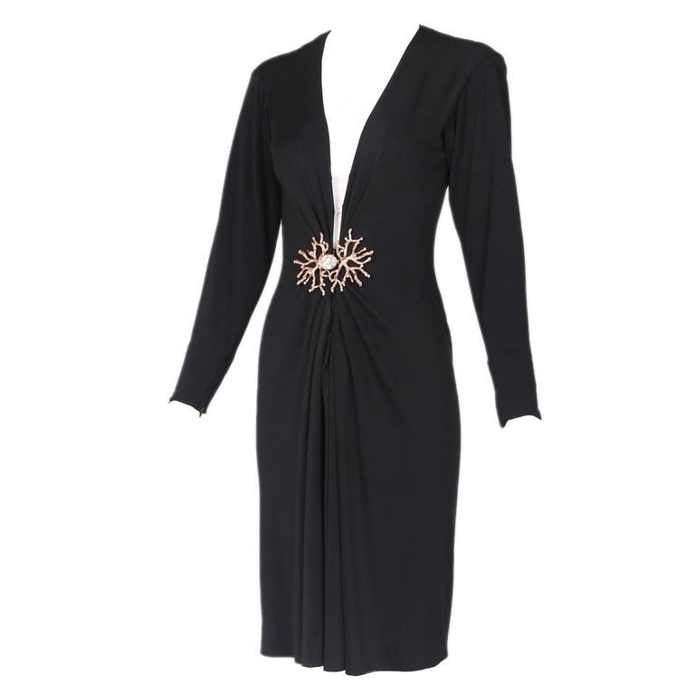 Yves Saint Laurent Black Jersey Deep V-Neck Dress w/Deep V-Neck & Coral Closure For Sale