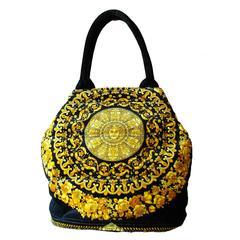 Rare Versace Couture Atelier Baroque Medusa Handbag Tote + Dust Cover Vintage