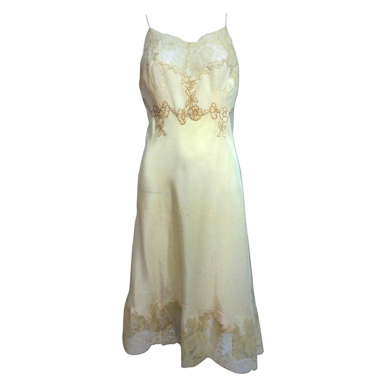vintage French hand made embroidered champagne silk & lace slip 1950s