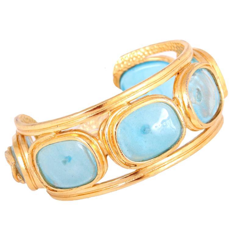 1996 Chanel Light Blue Gripoix Gold Tone Cuff w/CC Logo For Sale
