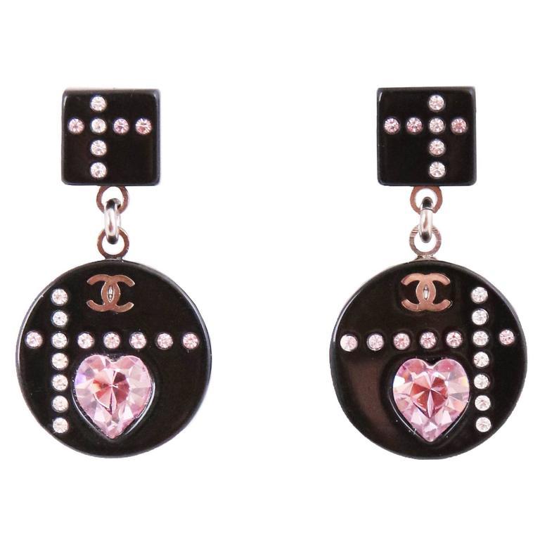 2004A Chanel Black Resin Dangling Earrings w/CC Logo & Pink Crystal Heart