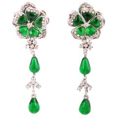 Green Gripoix by Maison Gripoix Dangling Clip On Earrings w/Crystals
