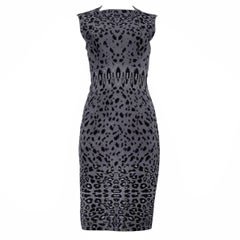 Iconic Azzedine Alaia Grey Leopard Bodycon Dress 2011