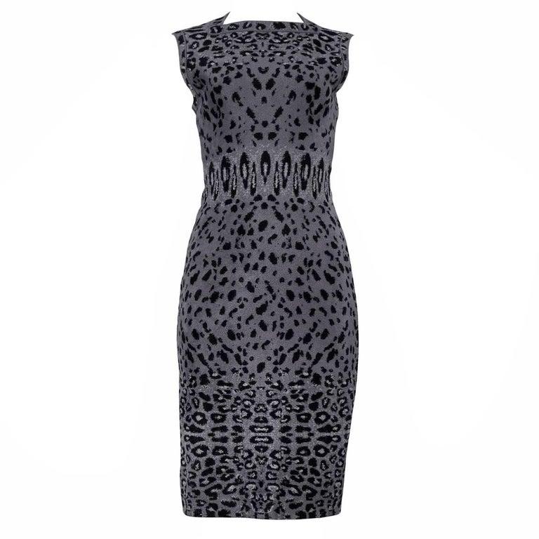 Iconic Azzedine Alaia Grey Leopard Bodycon Dress 2011 For Sale