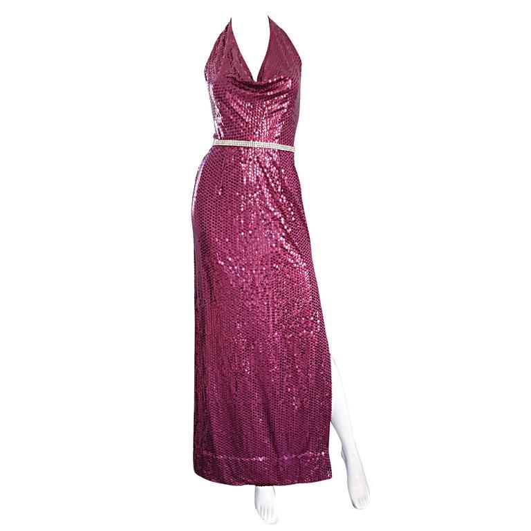 1970s Lillie Rubin Raspberry Pink Silk Sequined + Rhinestone Sexy Halter Dress For Sale