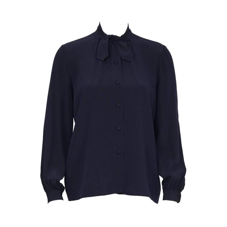 1970's Chanel Navy Tie Blouse For Sale