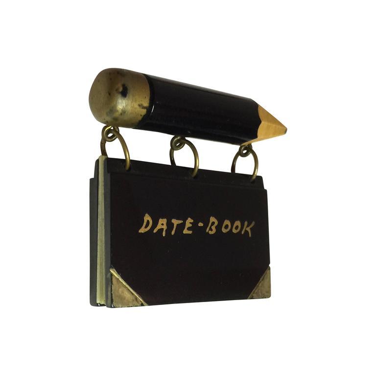 VERY Rare 1930s Bakelite & Celluloid School Days DATE-BOOK Brooch Pin 1