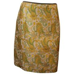 Prada Silk Blend Multi-Colored Printed Brocade Skirt - 40