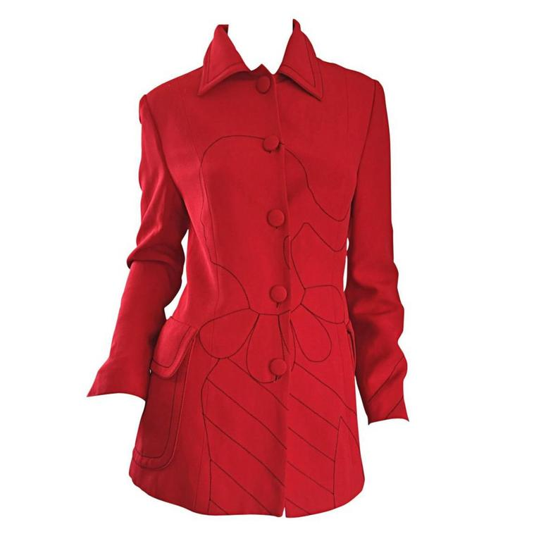"""Vintage Moschino Cheap & Chic Red ' Olive Oyl ' """" Ciao """" 1990s Blazer Jacket"""
