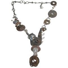Avant Garde Brutalist Mixed Metal Artisan Necklace c 1970s