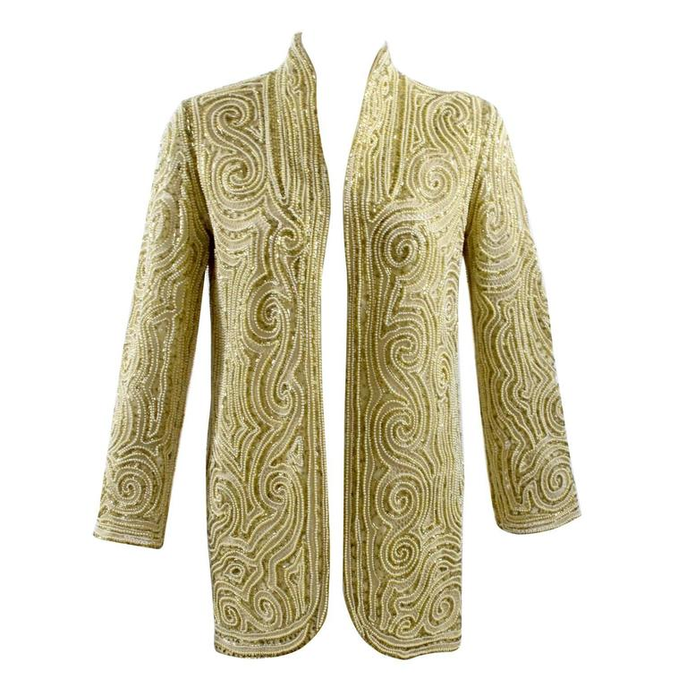 1970s Halston Hand Embroidered Beads & Golden Pearl Silk Organza Jacket 1