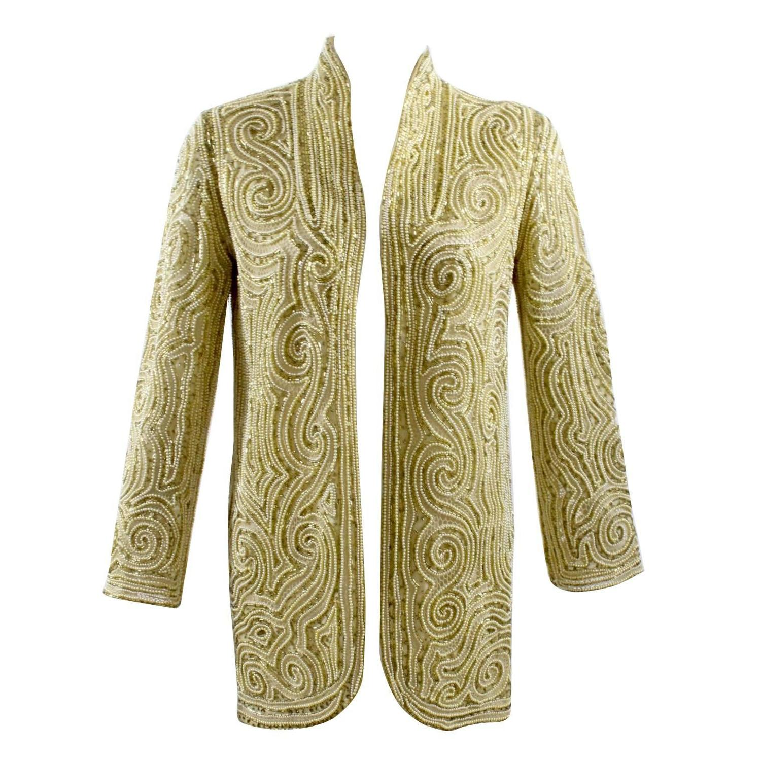 S halston hand embroidered beads and golden pearl silk