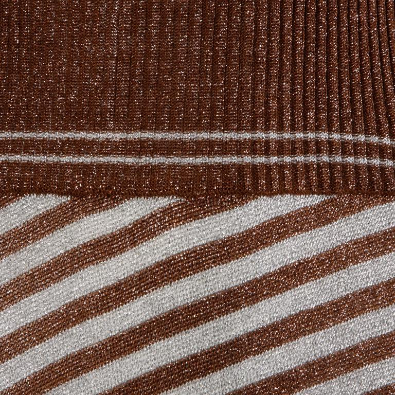 Wenjilli 1970s Vintage Metallic Knit Striped Maxi Dress For Sale 2
