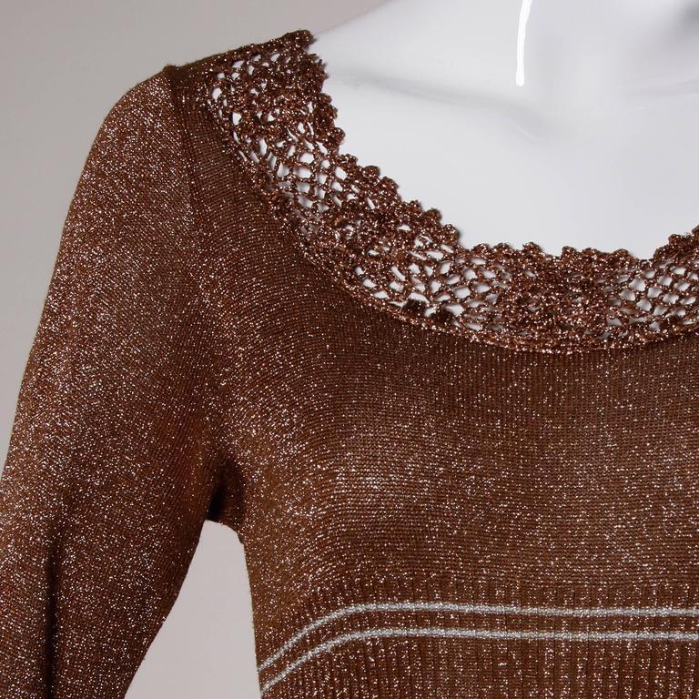 Wenjilli 1970s Vintage Metallic Knit Striped Maxi Dress For Sale 3