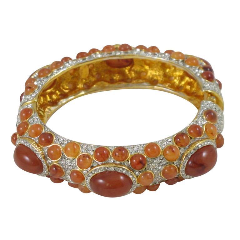 Kenneth Jay Lane Grace Collection Jeweled Clamper Bracelet Bangle  1