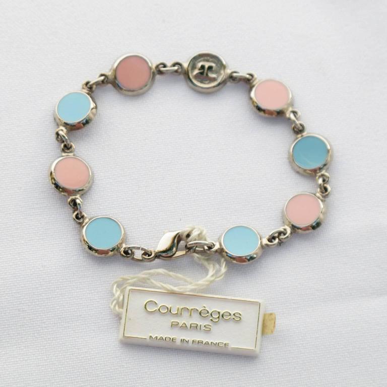 Courreges Bracelet Vintage Rare 70s Space Age Silvertone Pastel Enamel 2