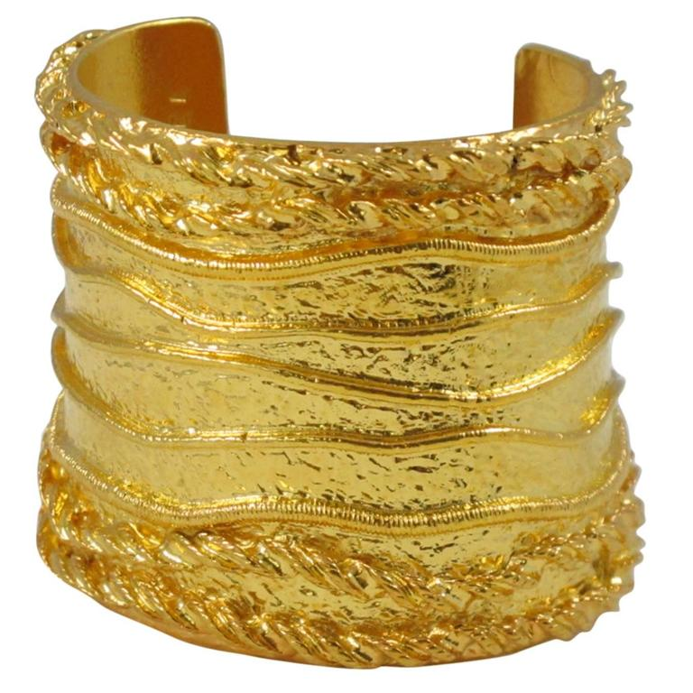 Sonia Rykiel Paris Cuff Bracelet Massive Slave Shape Gilt Metal Textured 1