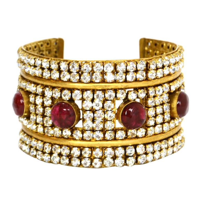 Chanel 70's Red Gripoix & Rhinestone Gold Cuff