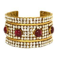 Chanel 70's Red Gripoix & Rhinestone Gold Cuff