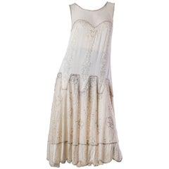 1920S  Cream Beaded Silk & Chantilly Lace Drop Waist Flapper Bridal Cocktail Dr1