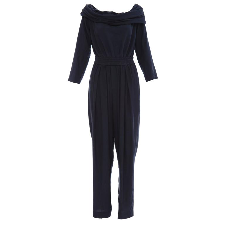 """Donna Karan Silk Navy Blue Off The Shoulder Pant Suit, Circa 1980""""s"""