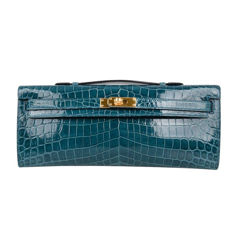Hermes Kelly Cut Bleu Colvert Crocodile Gold Hardware Clutch Bag For Sale a166b666e8