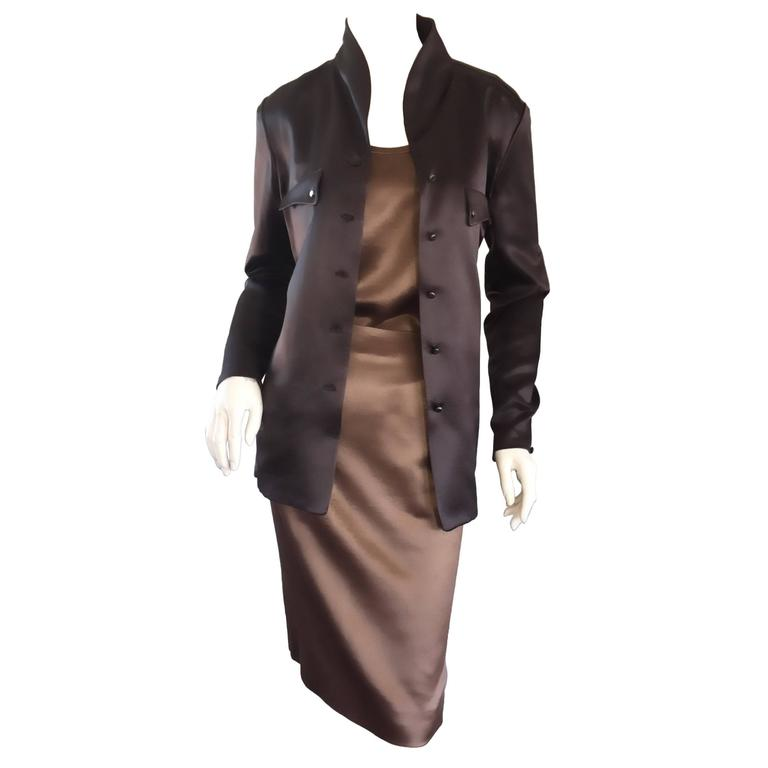 Geoffrey Beene Vintage 3 Piece Skirt + Blouse + Jacket Brown & Slate Gray Set
