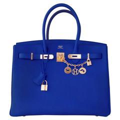 Hermes Blue Electric 35cm Togo Birkin Gold Hardware GHW Amazing