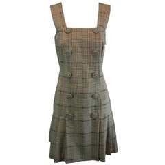 MET Museum Retrospective S/S 1994 Gianni Versace Couture Plaid Pinafore Dress 38