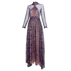 1990s Geoffrey Beene Lace Illusion Gown w/Dramatic Front Slit and Waterfall Hem