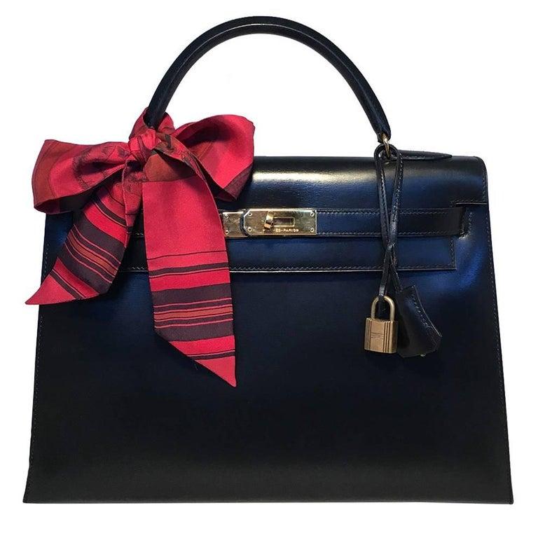 Hermes Vintage Black Box Calf 32cm Kelly Bag For Sale