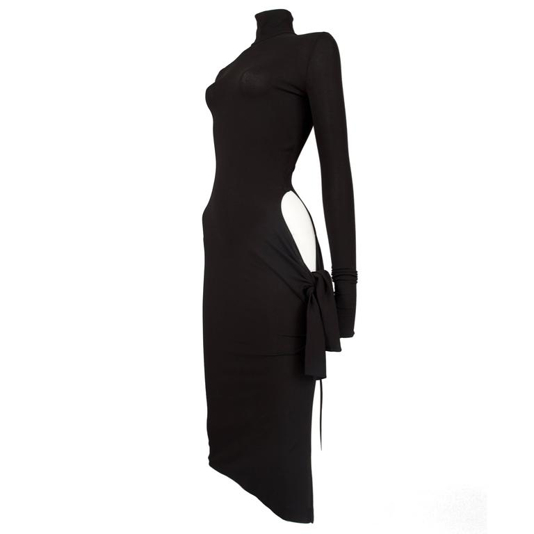 Dolce & Gabbana black bodycon evening dress with cut out, circa 2001 For Sale