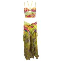 S/S 2004 Atelier Versace Silk Floral Crop Top Skirt Ensemble 40