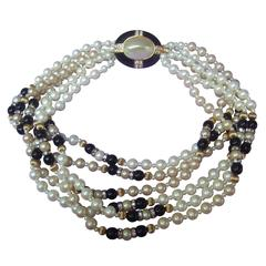 Elegant Glass Enamel Pearl Choker Necklace c 1980s