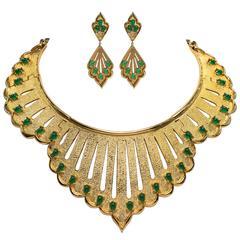 Fabulous Vintage 1970s Joseph Mazer Large Draped Jade Gilt Collar Earrings Set