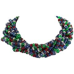 Chic Fruit Salad Crystal Rondel Vintage Bead Twist Collar Necklace