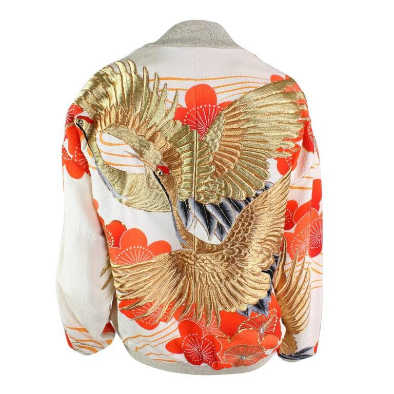 Japanese kimono embroidered bomber jacket at stdibs
