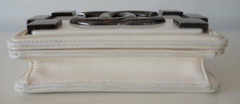 Chanel Boy Brick Lego Flap Bag White Leather 2 ways RARE 10