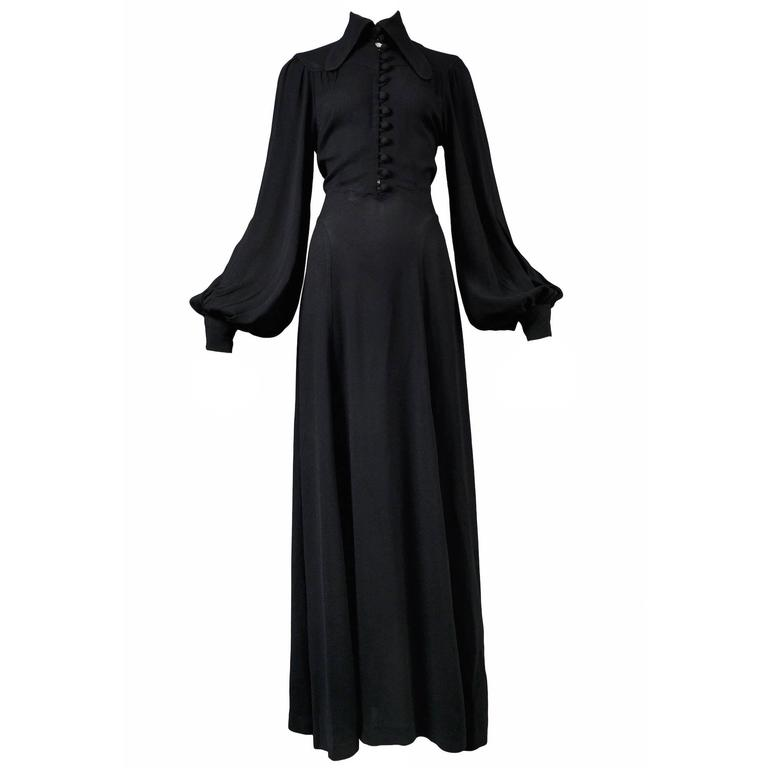 Ossie Clark Black Crepe Gown For Sale