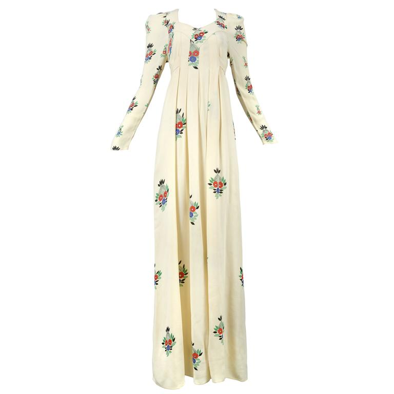 Ossie Clark Ivory Moss Crepe Gown with Floral Print by Celia Birtwell, 1970