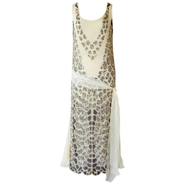 Blumarine Couture Gatsby Inspired Silk Chiffon Hand Beaded Evening Dress For Sale