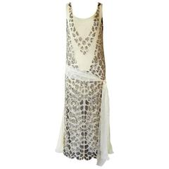 Blumarine Couture Gatsby Inspired Silk Chiffon Hand Beaded Evening Dress