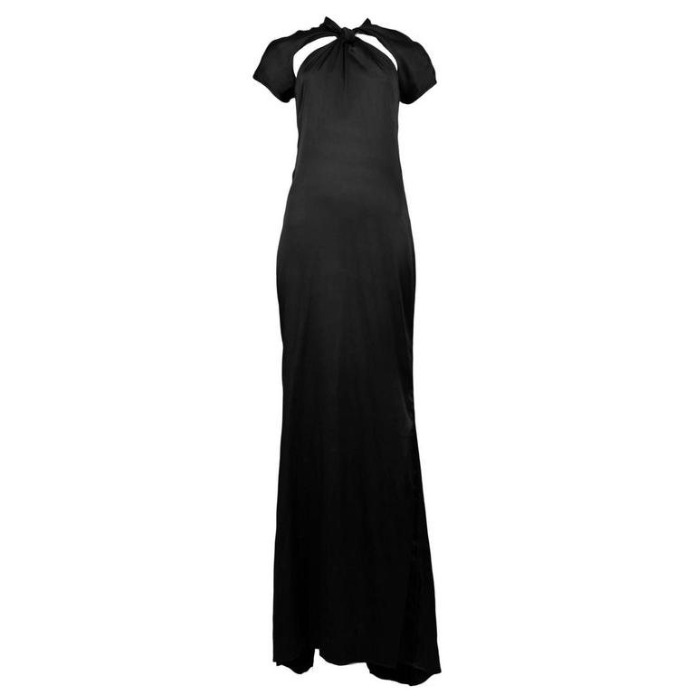 Tom Ford for Gucci Black Satin Knot Gown 1
