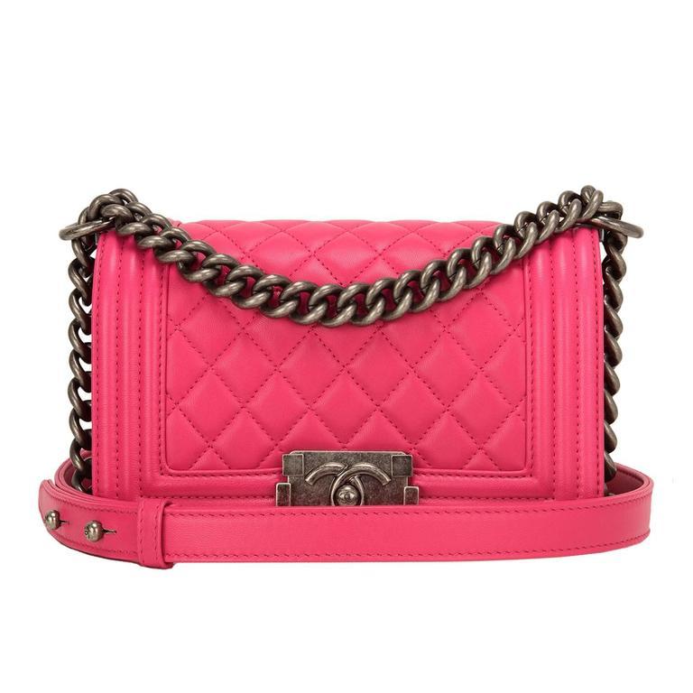 Chanel Fuchsia Pink Lambskin Small Boy Bag For Sale